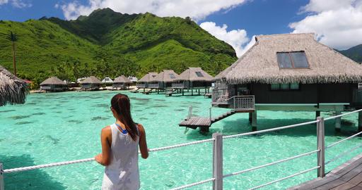 Luxury beach travel vacation woman in Tahiti - Tourist enjoying paradise holiday Footage