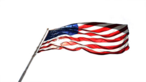 An American flag flies against a white sky Footage