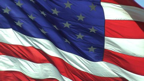 A closeup of a waving American flag Footage