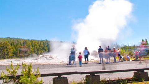 Time-lapse shot of Old Faithful Geyser in Yellowstone National Park, Wyoming Footage