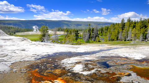 Time-lapse shot of the Geyser Valley at Yellowstone National Park in Wyoming Footage