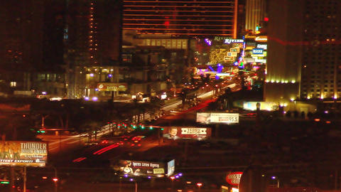 Panning time-lapse shot of Las Vegas at night Footage
