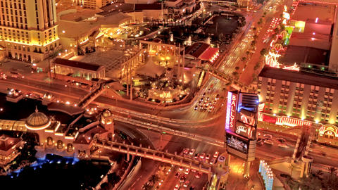 Zooming, timelapse from the top of the Paris Hotel's Eiffel Tower in Las Vegas Footage