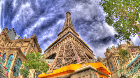 Tilting timelapse to the top of the reproduction Eiffel tower in Las Vegas Footage