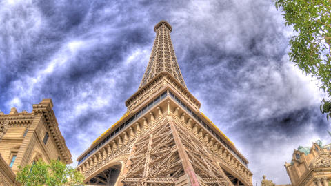 Timelapse, zooming to the top of the reproduction Eiffel tower in Las Vegas Footage