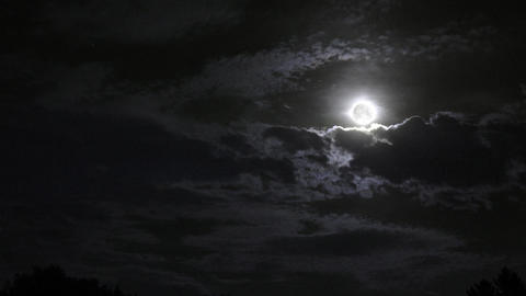 Clouds sweep a black night illuminated by a rising full moon Footage