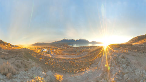 Time-lapse shot of sunrise at the Utah valley with lens flare Footage