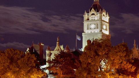 Time-lapse static shot of a clock tower in Utah Footage