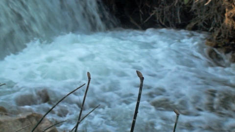 Panning shot of a stream in Utah Footage