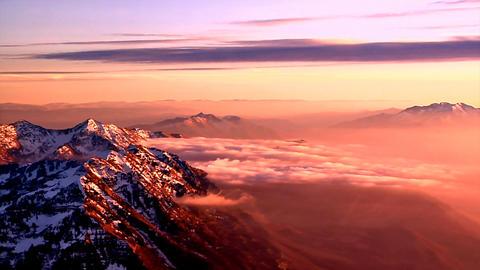 Aerial shot of rocky mountain peaks in Utah Footage