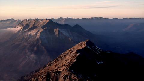 Aerial shot of mountain peaks in Utah Footage