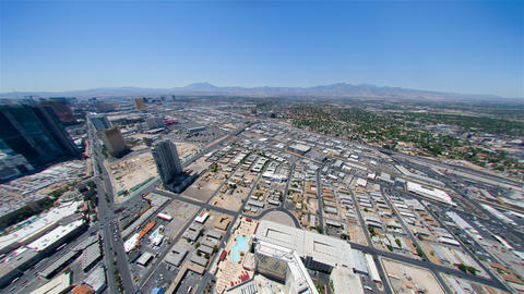 Static view from the Las Vegas Stratosphere Hotel to traffic and mountains in th Live Action