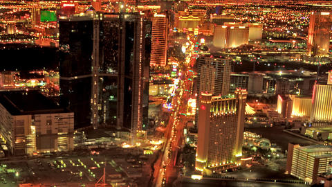 Static, Timelapse from the top of the Stratosphere Hotel in Las Vegas at night Live Action