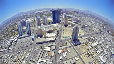Timelapse, fisheye view of Las Vegas from the top of the Stratosphere Hotel to t Live Action