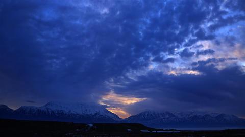 Time-lapse shot of Utah mountain range at sunset Footage