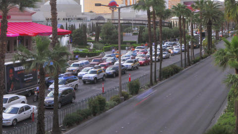 Timelapse, panning of sped up traffic on Las Vegas Boulevard Footage
