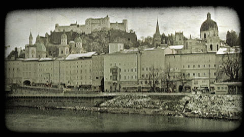 Old town Salzburg. Vintage stylized video clip Footage