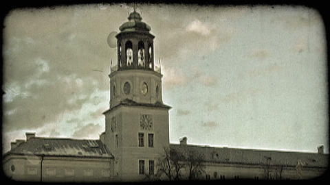 Top of Austrian church. Vintage stylized video clip Footage