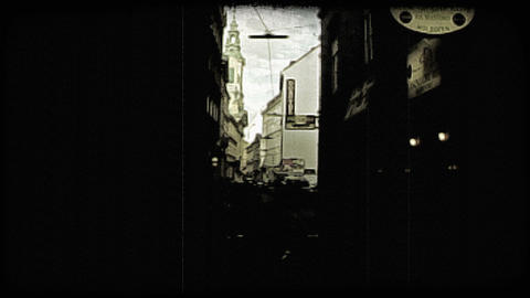 Vienna Alley. Vintage stylized video clip Footage