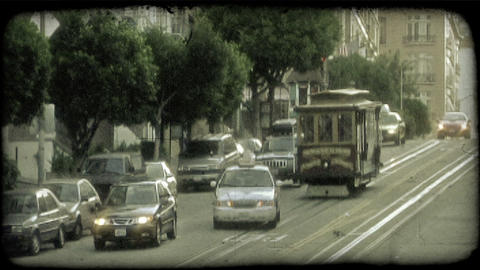 San Fransisco trolley. Vintage stylized video clip Live Action