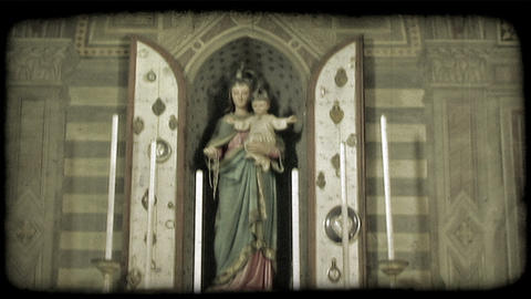 Cathedral statue 1. Vintage stylized video clip Footage
