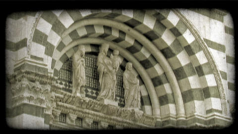 Cathedral statue 2. Vintage stylized video clip Footage