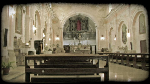 Cathedral Pews. Vintage stylized video clip Footage