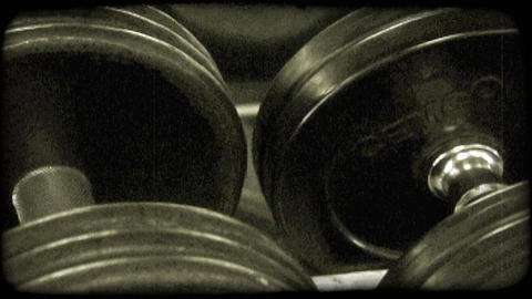 Pan large barbells. Vintage stylized video clip Footage