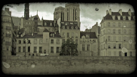 Paris from boat 4. Vintage stylized video clip Footage
