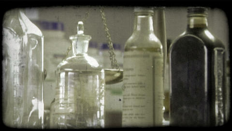 Pharmacy bottles. Vintage stylized video clip Footage