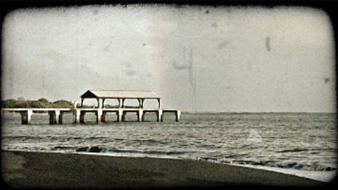 Rainbow and pier. Vintage stylized video clip Footage