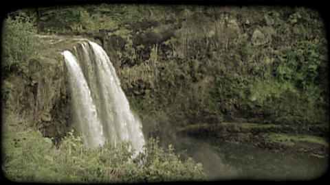 Tropical waterfall. Vintage stylized video clip Footage