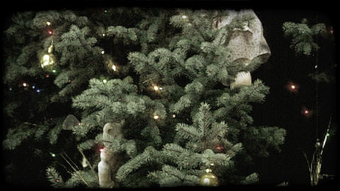 Decorated Christmas tree. Vintage stylized video clip Footage