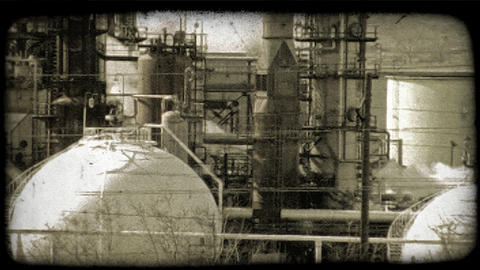 Kuwait oil refinery 2. Vintage stylized video clip Footage
