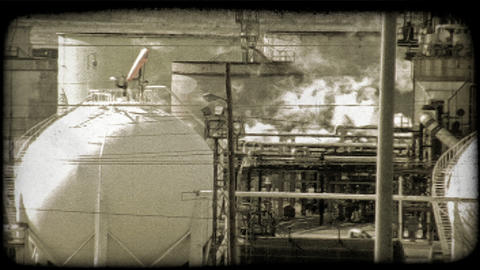 Kuwait oil refinery 4. Vintage stylized video clip Footage