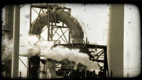 Kuwait oil refinery 8. Vintage stylized video clip Footage