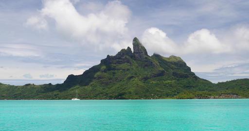 Mount Otemanu and Bora Bora in Tahiti French Polynesia Live Action