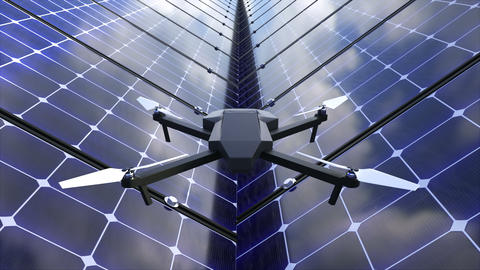 Modern shiny quadcopter among solar panels, 3d render background for technology GIF