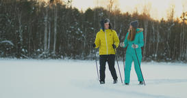 In the winter forest at sunset loving couple skiing and look around at the ビデオ