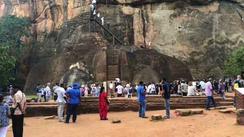 Ruins on top of Sigiriya Lion's rock palace Footage