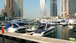 View from Promenade on Dubai Marina Footage