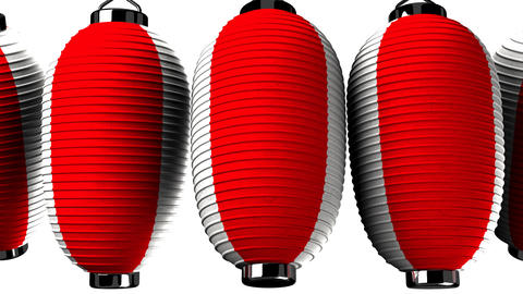 Red and white paper lantern on white background CG動画