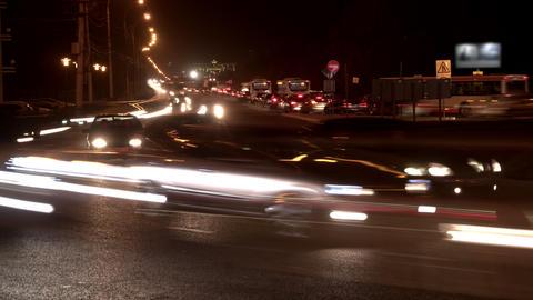 Timelapse footage big traffic jam due to road repairs Archivo