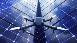 Modern shiny quadcopter among solar panels, 3d render background for technology Footage