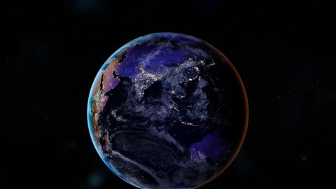 Night side of the Earth with city lights. Asia and Oceania. Zoom animation. Animation