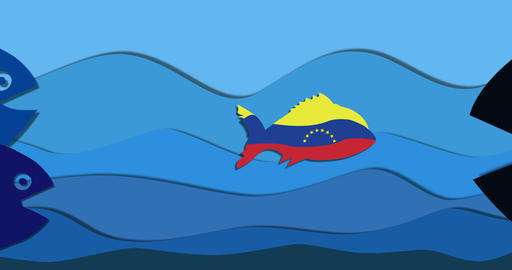 small fish in color flag Venezuela Animation