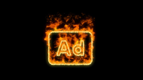 Ad - Advertisement symbol inflames. Then disappears. In - Out loop. Alpha Animation