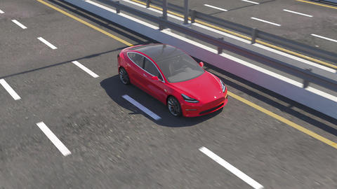 3d animation of an electric Tesla model 3 car driving on highway Animation