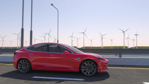 3d animation of an electric car Tesla model 3 driving on highway Animation