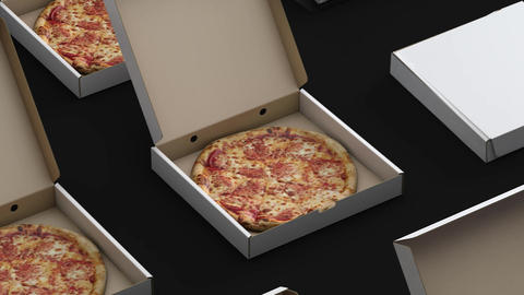 Conveyor is boxed pizza loop Animation